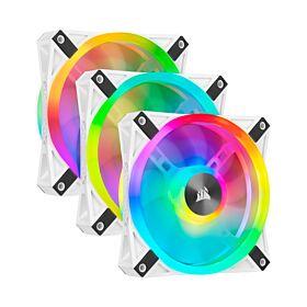 Corsair iCUE QL120 RGB 120mm PWM White Fan - Triple Fan Kit with Lighting Node CORE | CO-9050104-WW