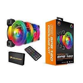 Cougar VORTEX RGB SPB 120 PWM 3 Pack Fans with Remote Control | CG-FAN-VRTX120SPB-RGB-3PCK